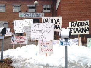 Manifestation rädda byarna Pajala 2016